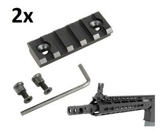 Kit 2x Trilho 20mm Grip Lanterna Handguard Keymod M4 Amoeba