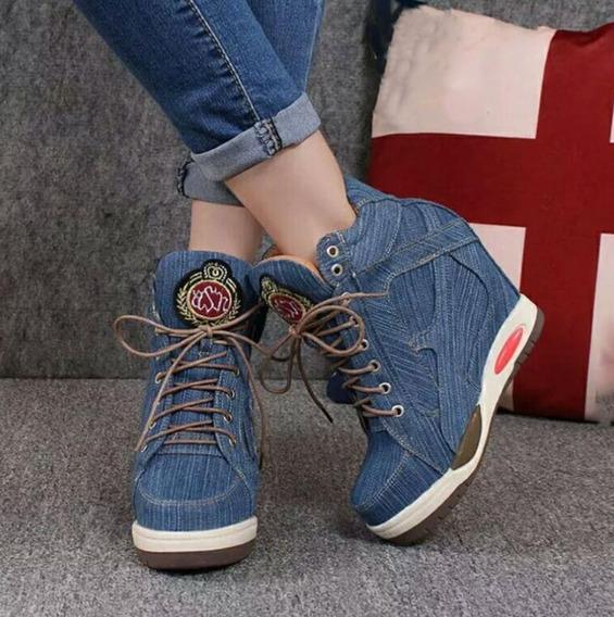 Tênis Plataforma Jeans Com Zíper Casual = Atenção Prazo!!!