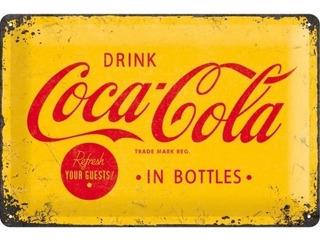 Cartel Nostalgic-art® Coca-cola Logo Amarillo