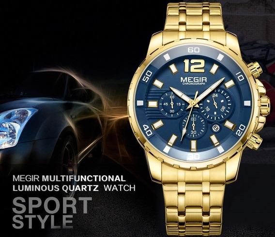 Relógio Megir Masculino Cronógrafo Dourado Europa Mg2068g