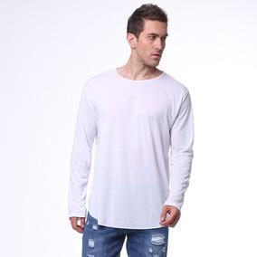 Manga Larga O-neck Silm Fit Casual Blusa Camiseta Para Cabal