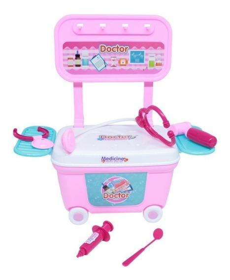 Brinquedo Infantil Com Kit Medico E Carrinho Doutora