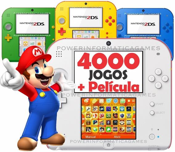 Nintendo 2ds 4000 Jogos Roda 3ds + 64gb + Fonte + Película