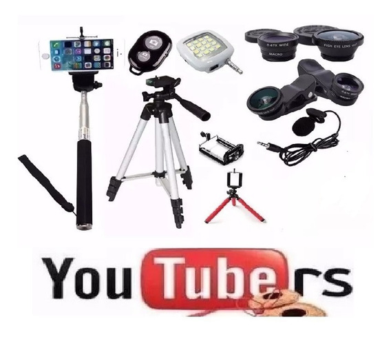 Kit Youtubers Bastão Selfie Mini Tripe Flexível Tripé 1,50m