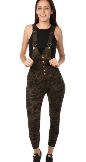 Overol Jeans Jomper Camuflajeado Dama Mujer Skinny Mezclilla