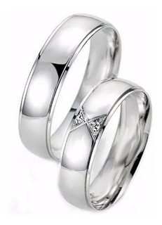 Argollas Matrimonio Compromiso Plata C/u Efecto Oro Blanco
