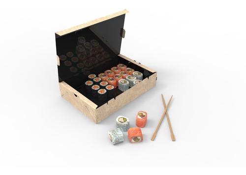 100 Cajas Sushi Rectas Grandes (27x18x5,5cm) Delivery