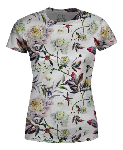 Camiseta Baby Look Feminina Floral Aquarela Estampa Total
