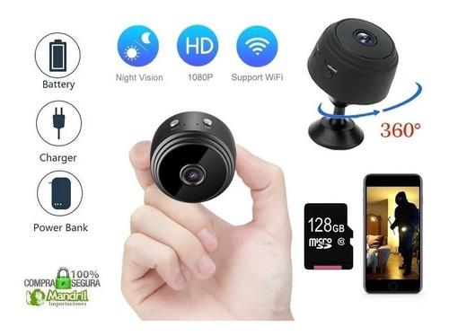 Mini Camara Espia Wifi A9 1080p Fhd 128gb Graba 24 Horas