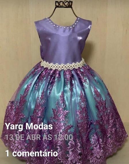 Vestido Ariel Lilás Luxo Novo