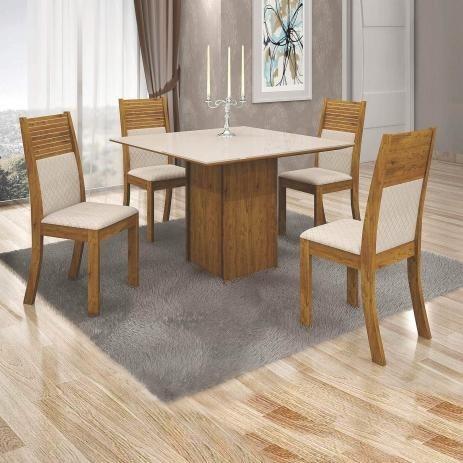 Conjunto Sala De Jantar Mesa Com 4 Cadeiras