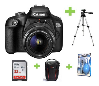 Camara Canon Eos 4000d- Rebel T100+18-55+32gb+bolso+kit+trip