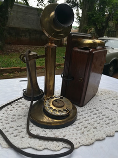 Teléfono Antiguo Candelero Ingles Bronce U.t. + Caja Timbre