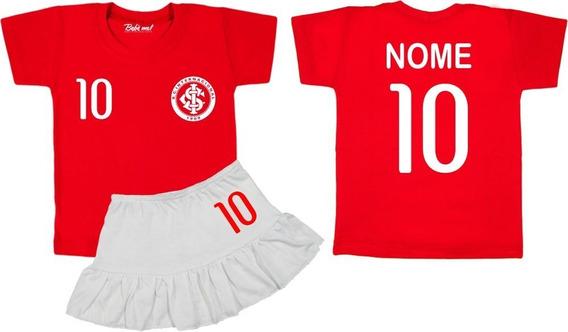 Conjunto De Time Internacional Menina Camiseta Infantil E Bebê Com Nome Personalizado