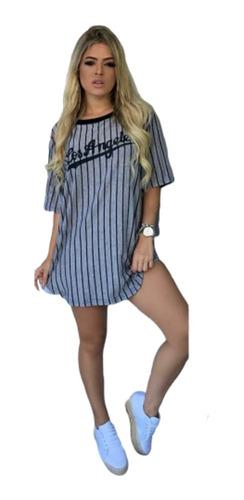 Imagem 1 de 1 de Camiseta Camisa Long Line Camisão Vestido Curto Feminina