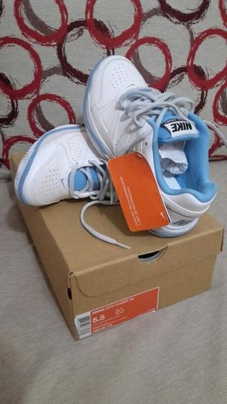 Zapatillas De Cuero Nike Blanca Y Celeste. Plantilla 23cm