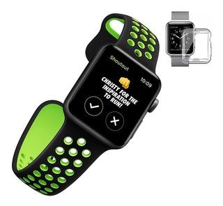 Pulseira Apple Watch Silicone Esportiva 42mm Ou 44mm + Case