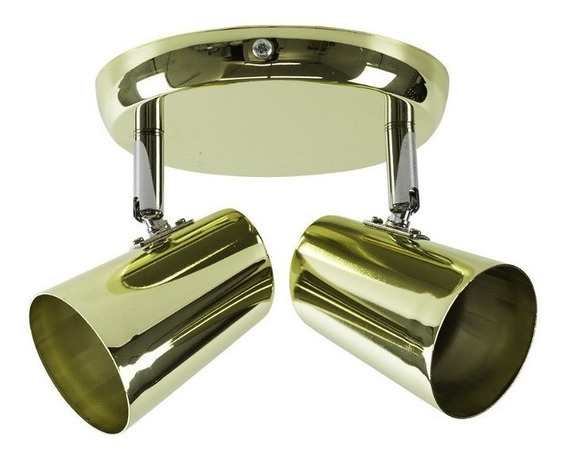Spot De Sobrepor New Short 2 Luzes Gu10 50w Cromado Dourado