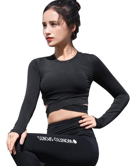 Camiseta Fitness Mujer Manga Larga Yoga De Secado Rápido