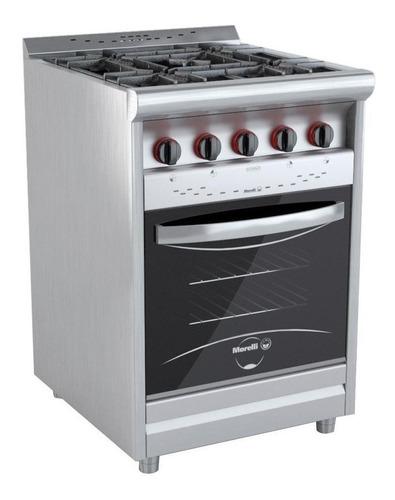 Imagen 1 de 1 de Cocina industrial Morelli Country 600 multigas 4 hornallas  plateada 220V puerta  con visor