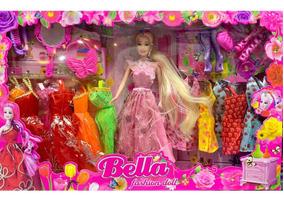 Boneca Bella Fashion Acessorios E 12 Vestidos
