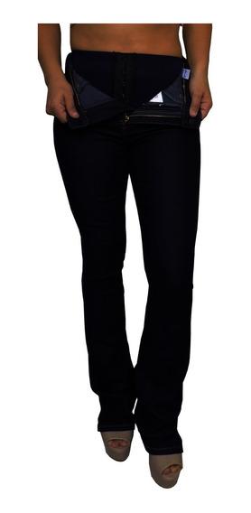 Calça Jeans Feminina Flare Preta Cintura Alta Lycra Sawary
