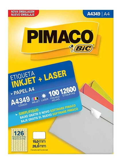 Etiqueta A4349 15x26mm 7col 12600un / 100fl / Pimaco