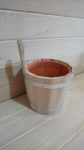 Balde De Madera Artesanal Para Sauna
