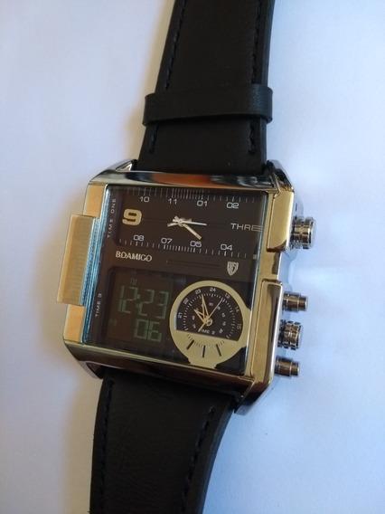 Relógio Quadrado Prata Masculino De Pulso 3 Fuso Hr Boamigo