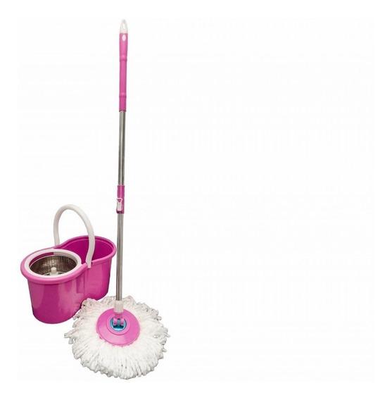 Balde Spin Mop 360° Rosa Centrifuga Inox Com 2 Esfregão
