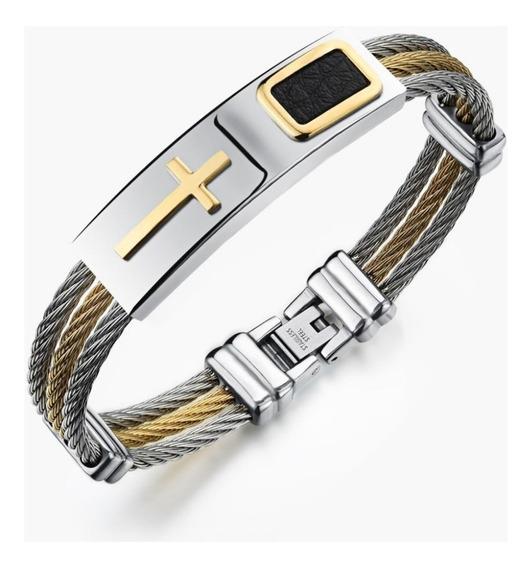 Pulseira Bracelete Cruz Aço 316l Banhada A Ouro - Cod.26