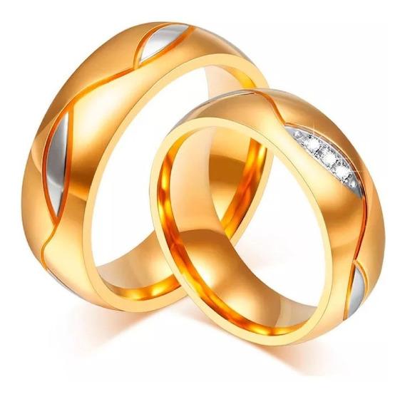 Par Alianças Noivado, Casamento Ou Compromisso Banhada Ouro