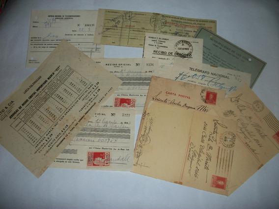 Boletas,recibos,cartas Postales, Etc. Antiguas