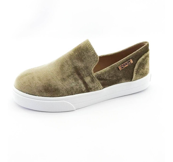 Tênis Slip On Quality Shoes Feminino 004 Veludo Bege