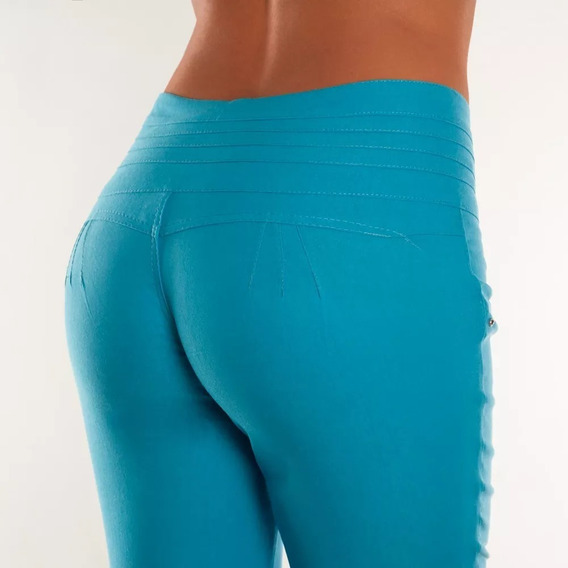 Pantalon Verde Turquesa Tela Chicle Xl