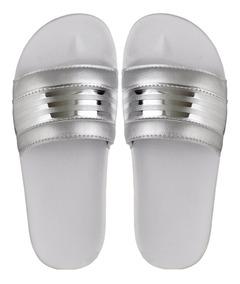 Sandalias Feminina Brilhante Super Confortável Slide Cores