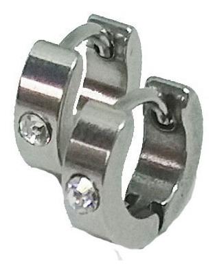 Brinco Masculino De Argola 4mm Aço Inoxidável Com Pedra