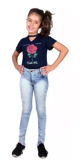 Calça Jeans Feminina Menina Rasgada Infanto Juvenil