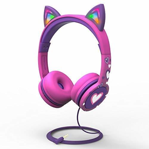 Auriculares Para Niños Fospower Con Orejas De Gato Con Luz L