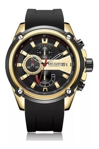 Relógio Megir 2086 Original Dourado E Preto Pronta Entrega