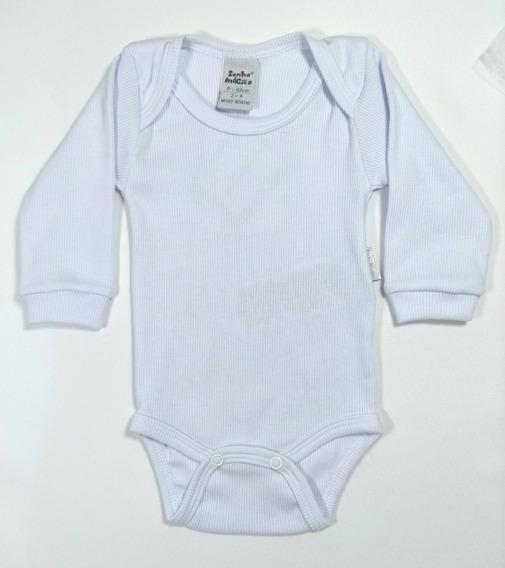 Body Malha Bebê/neném Manga Longa Branco Azul Novo Menino