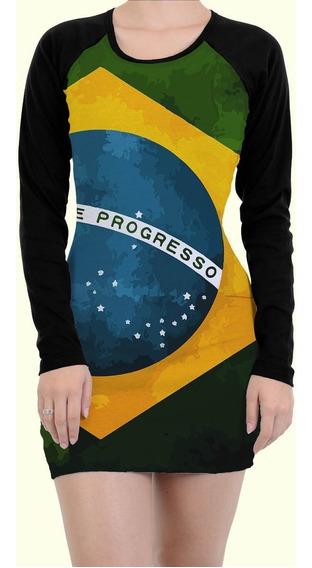 Vestido Tubinho Tumblr Bandeira Brasil Brazil Flag Copa Swag