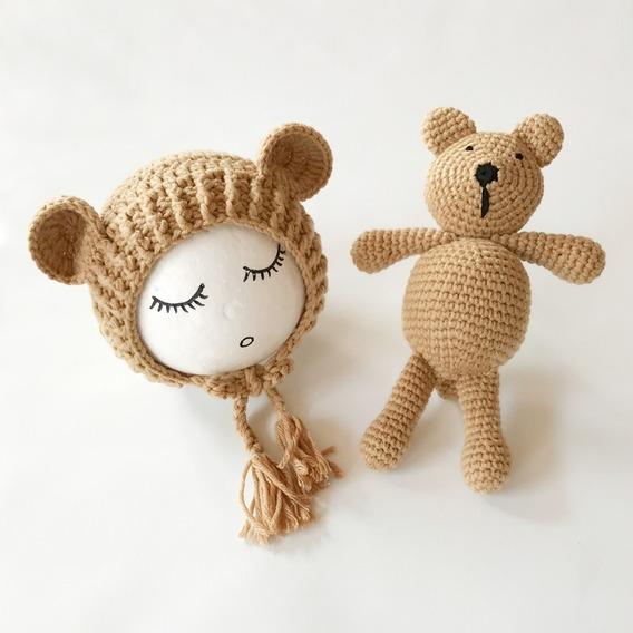Conjunto Fantasia Crochê Fotos Bebê Newborn Ursinho Gorro