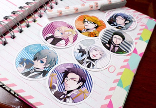 Set De 7 Stickers Circulares De Anime - Kuroshitsuji