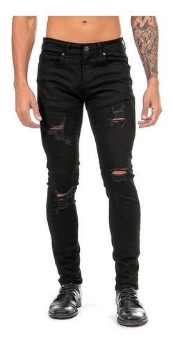 Imagen 1 de 8 de Jeans Mezclilla Stretch Negro Demolición Hombre