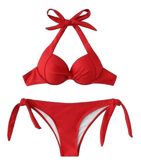 Traje De Baño Top Halter Con Bikini De Amarre Ajustable Moda