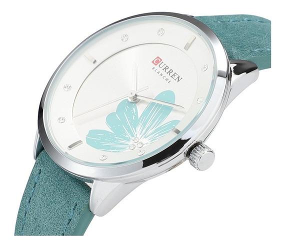 Relógio Feminino Curren C9048 Verde Casual Barato Pra Sair