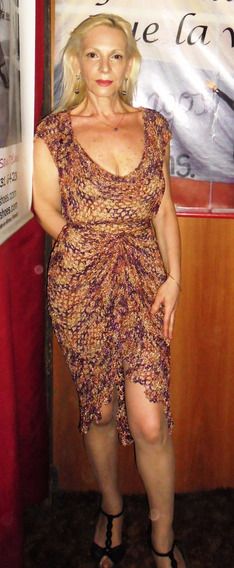 Vestido De Seda Tejido Al Crochet