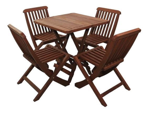 Mesa Dobrável Quadrada 70 X 70 Madeira Com 4 Cadeiras