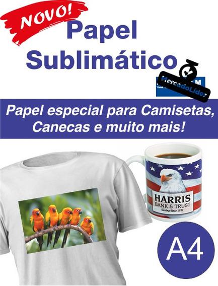 200 Fls Papel Sublimatico A4 90gr Alta Definição Caneca Camisa